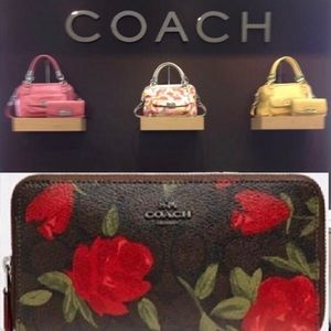 🔥Coach Red Rose Floral Accordion Zip Wallet🌹🌹🌹